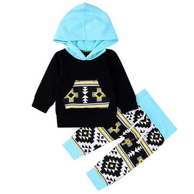 Fashion Toddler Baby Boys Tops Hoodie Pants Home Outfits 2Pcs/Set Clothes 0-4T