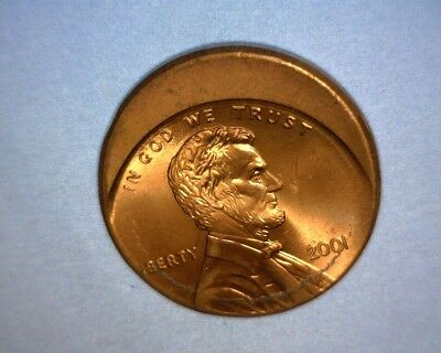 2001 Lincoln Cent  OFF CENTER, HIGH GRADE BLAZING RED  US ERROR COIN