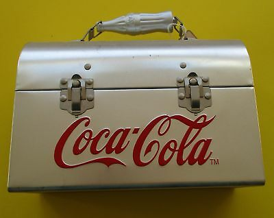 New COCA COLA Lunch Box Silvertone red Logo COKE BOTTLE HANDLE with tag