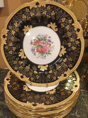 8 VTG WEDGWOOD  BLACK AND GOLD Hand Painted FLORAL Signed Service Dinner Plates