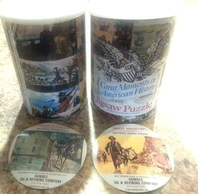 jigsaw puzzle Humble Oil Co American history Gold Rush Paul Revere lot 2 tin