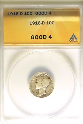 1916-D Mercury Dime - ANACS GOOD 4 - KEY DATE - FREE SHIPPING !!!