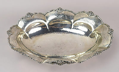 Huge Solid .800 Silver Center Bowl Grotesque Masks Engraving Antique Germany