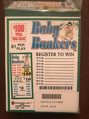 """Baby Banker"" 5 Window Pull Tab 208 Tickets Payout $160 Free Shipping USA (48)"