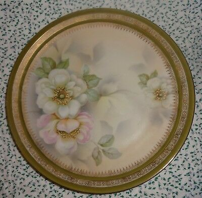 """ES PROV SXE GERMANY Porcelain Hand Painted White Pink Flower Plate 8-3/8"""""""