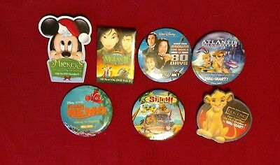 Disney Movie Button Pins Walmart Promotional Collectible LOT of 7  (#1)