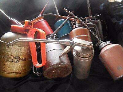 Lot of 8 Vintage Oil Cans Oilers Funnels Machine Shop Collectible-Thumb Pump