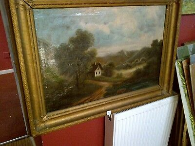 Fine Late 19th c, French School Oil on Canvas. Extensive Landscape Study.