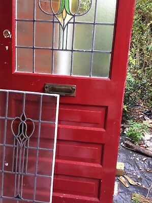 Stained glass front door and seperate panel vintage