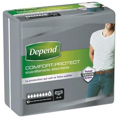 DEPEND Sous-vetements Comfort-Protect- Homme - Taille S/M - 10 x 6