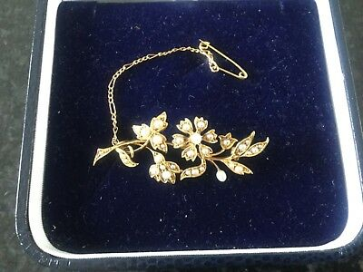 Beautiful antique Victorian 15ct gold and seed pearl flower spray brooch