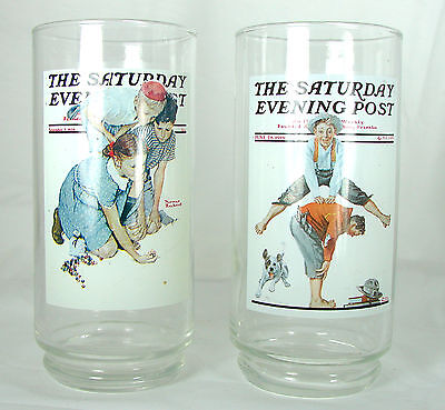 2 Arby's / Saturday Evening Post / Norman Rockwell Glasses