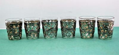 6 Chinese Export silver Baijui glass holders & Liner Dragon in clouds Wang Hing