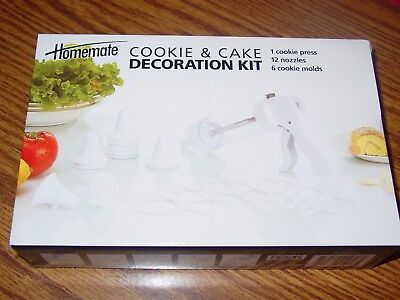 Homemate Cookie & Cake Decoration Kit 1 Press 12 Nozzles  6 molds New in Box