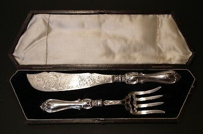 Stunning Cased Early Victorian Solid Silver Fish Servers - Sheffield 1854