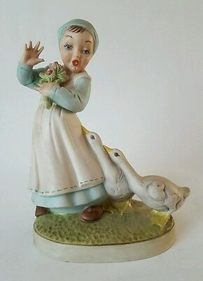 Holland Mold Porcelain Vintage Girl with Geese Figurine