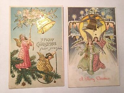 Vintage CHRISTMAS postcards lot of 2 Angels with bells Germany, 1 series 563