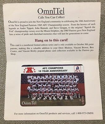 1995 OmniTel New England Patriots 10 year Anniversary AFC Champions Phone Card