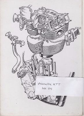 Velocette Ktt Mark Viii Mk 8 Engine Diagram / Drawing / Poster - Laminated