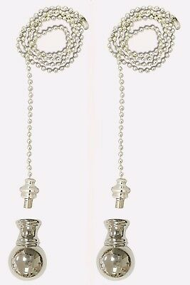 Royal Designs Fan Pull Chain with Small Ball Finial – Silver Finish