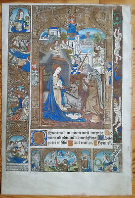 Book of Hours Miniature Vellum Birth of Christ - 1500