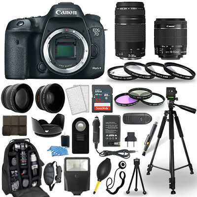 Canon 7D Mark II Camera + 18-55mm STM Lens + 75-300mm+ 30 Piece Accessory Bundle