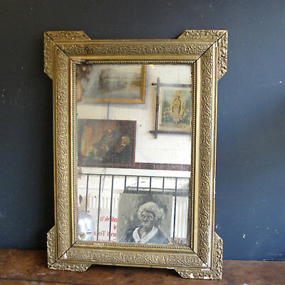 Large 19th Century Antique French Ornate mirror with foxed glass and Gilt frame
