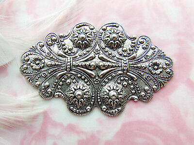 ANTIQUE SILVER Victorian Ornate Scroll Cartouche Stamping Oxidized (CB-3077)