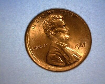 1987 Lincoln Cent, Off Center, Broad Strike, Rotated Reverse Us Error Coin