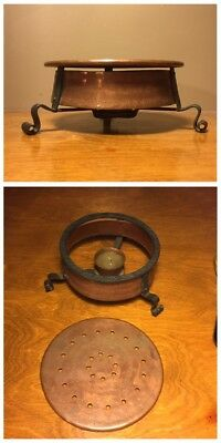 Vintage Arts & Crafts Copper & Wrought Iron Hot Plate Warmer