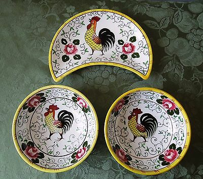 Early Provincial Crescent Salad Plate Cereal Soup Bowl Py Ucagco Rooster & Roses