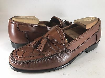 GIORGIO BRUTINI Brown Woven Leather Loafers MENS 8M Casual Dress Shoes Tassels