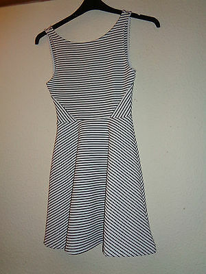 Ladies H & M White And Navy Stripe Fitted Summer Dress Size 8