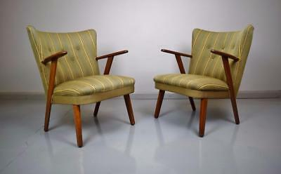 (1 of 2) Mid Century Vintage Retro Danish Green Wool Lounge Arm Chair 1950s 60s