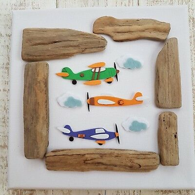 Childrens Boys Nursery Bedroom Driftwood Aeroplane Helicopter Canvas Picture