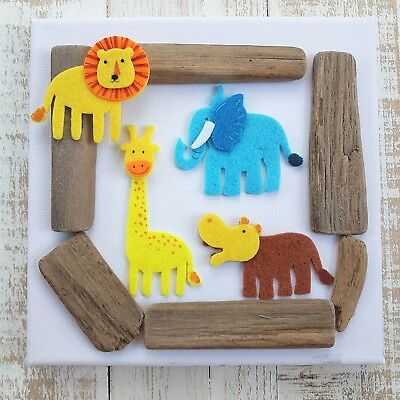 Childrens Baby Boys Girls Babies Jungle Animal Nursery Canvas Picture Gift