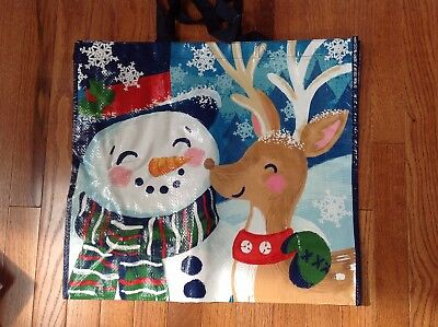 "TJ Maxx Brown Reusable Tote Bag Gift Bag Snowman Reindeer 19.25"" X 18"" X 8""  New"