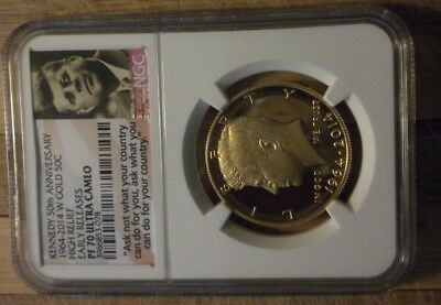 2014-W JFK GOLD 50 Cent NGC PF70 Ultra Cameo Early Release 50th Anniv 3/4 oz AU