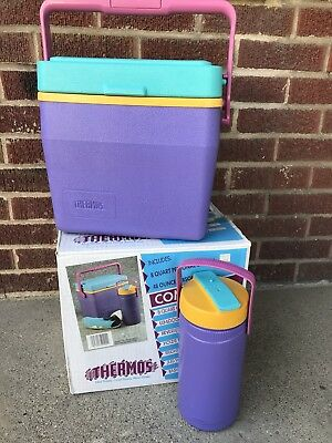 Vintage Thermos Combo 8 Quart Cooler 48 ounce Personal Jug Purple Teal 1980s