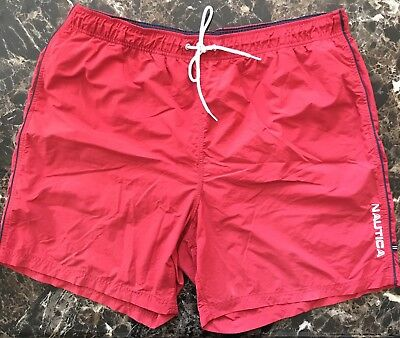 Nautica Mens Size 2XL Swim Trunks Red Nylon Board Shorts Spell Out Color Block