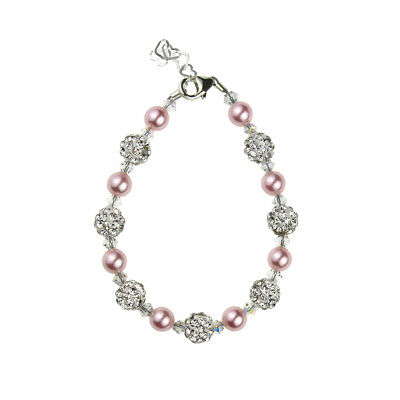 Baby Bracelet with Swarovski Pink Pearls and Clear Crystals with White Pavé Bead