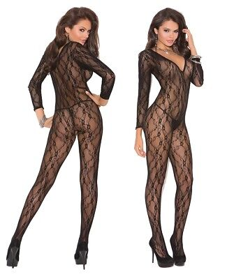 Elegant Moments, Black Deep V Long Sleeve Bodystocking W/Open Crotch, Lingerie