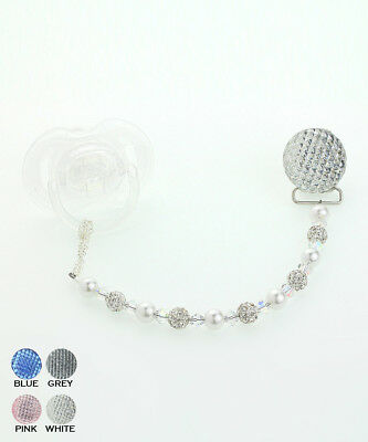 Baby Pacifier Clip with Pave Beads and Swarovski Crystals