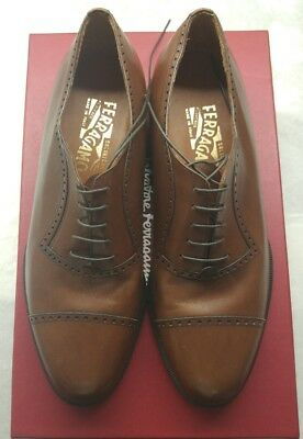 $695 Salvatore Ferragamo Brown Cap toe Leather Oxford Lace Dress Shoe Men Sz. 8D