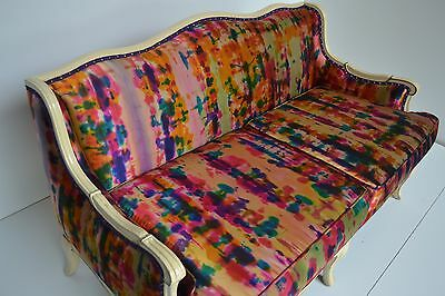 Vintage Settee Upholstered in Hand Painted Ralph Lauren Duchess Silk pink 400/yd
