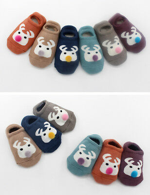 Cute Deer Kids Boys Girls Children Non Slip Short Socks Thick Warm 3D 1-12 Year