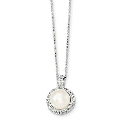 Sterling Silver 17in 11-12 mm White FW Cultured Pearl CZ Necklace