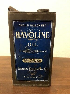Havoline One Gallon Oil Can Indian Oil CO. New York Blue Rarest Good Condition