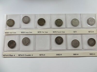 Set of 11 Coins Canadian Silver 5 cent Canada key 1858 large date 1858-1882