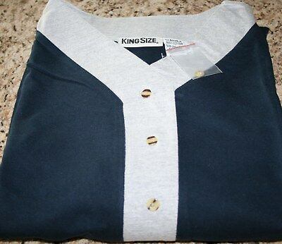 Men's King Size Cotton Nightshirt - Henley - 2XL/3XL - Blue - NWOT